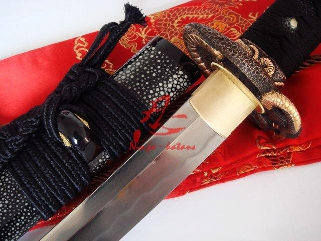 Battle Ready Clay Tempered Sanmai Blade Snake Wakizashi Katana Shark Skin Sheath
