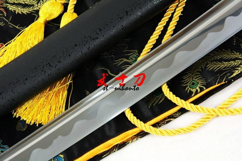 40.6 Hand Forged Black Japanese Full Tang Blade Katana Cyclone Tsuba Sharpened Sword