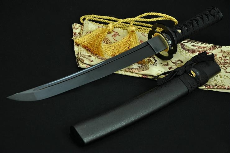 20 Inch Hand Made Full Black Japanese Samurai Tanto Sword Black Blade Musashi Tsuba
