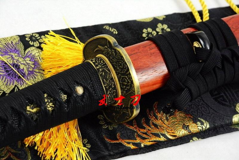 Clay Tempered Kobuse Blade Japanese Wakizashi Katana Carved Flower Sword Red Wood Saya