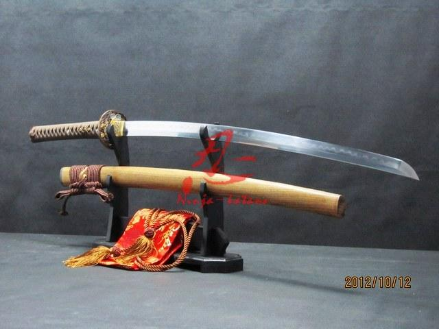 Battle Ready Clay Tempered Sanmai Blade Japanese Flower Katana Hualee Wood Sheath