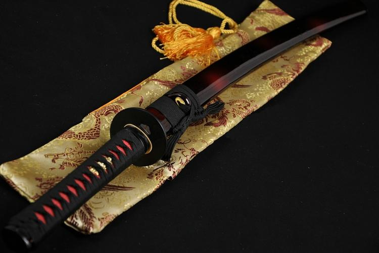 Full Black Steel Full Tang Blade Handmade Japanese Samurai Katana Sword