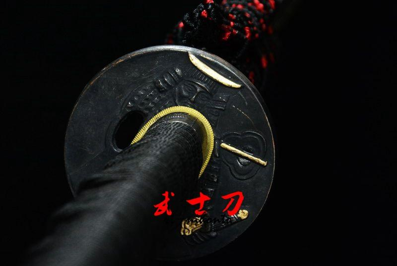 Black Japanese Functional Daisho Katana Warrior Tsuba Sword Quenched Oil 9260 Spring Steel Full Tang Blade