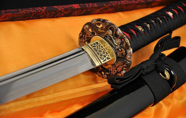 Clay Tempered Double Groove Light Blade Dragon Brass Tsuba Japanese Sword Katana