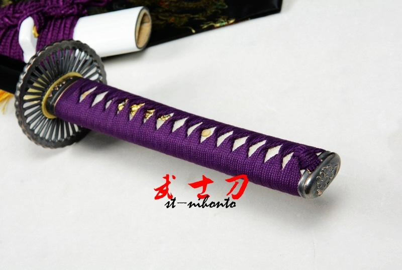 Battle Ready Japanese Wheel Tsuba Katana Sword Quenched L6 Steel Shine Blade