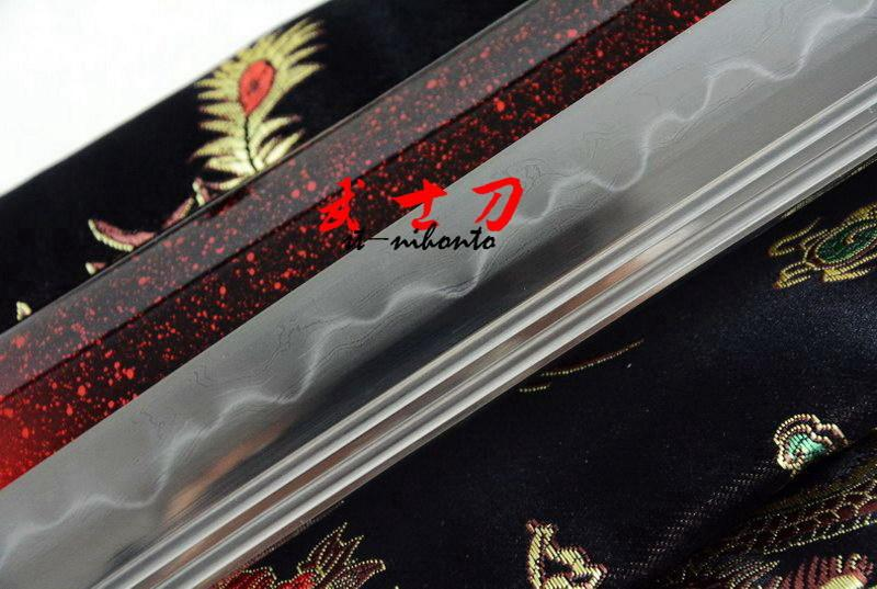 Clay Tempered Kobuse Blade Japanese Samurai Katana Tiger Tsuba Double Shallow Bo-Hi Full Tang Sword