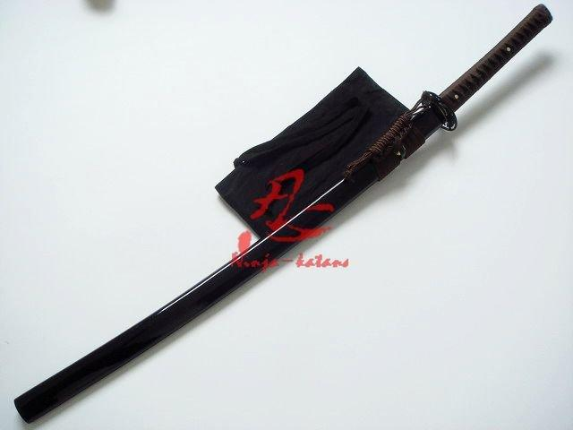 40.6 Handforged Black Katana Leaf Tsuba Sharpened Edge