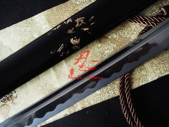 Handmade Black Japanese Katana Petal Tsuba Full Functional Sword Sharpened Blade