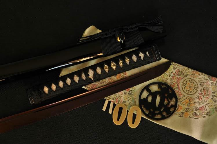Handmade Japanese Samurai Sword Katana Black Red Folded Steel Blade Iron Tsuba