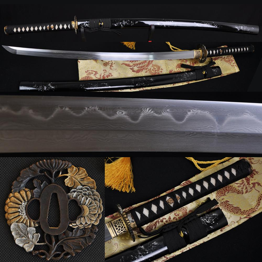 Clay Tempered Folded Steel Full Tang Blade Japanese Samurai Sword Katana