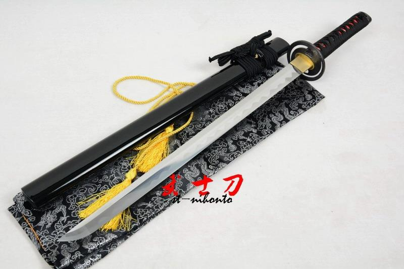 29.5 Battle Ready Quenched 9260 Spring Steel Full Tang Black Ninja Cyclone Tsuba Sword Can Cut Tree