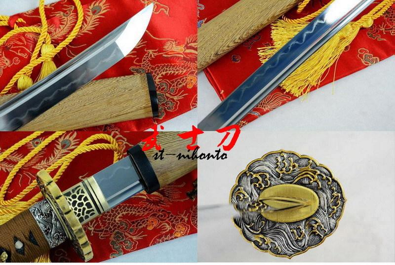 Excellent Battle Ready Clay Tempered Sanmai Blade Japanese Samurai Katana Wave Tsuba Full Tang Sword