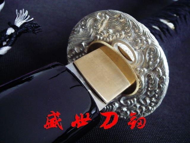 Claytempered1095steel Blade Japanese Katana Silver Wave Tsuba Battle Ready Sword