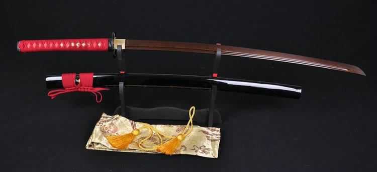 Black Red Steel Full Tang Blade Handmade Japanese Samurai Function Sword Katana