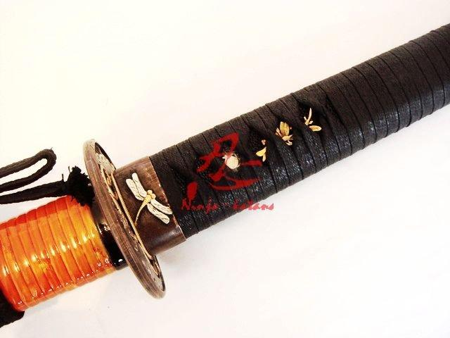 Claytemperedt-10steel Battle Ready Japanese Samurai Katana Butterfly Tsuba Sword