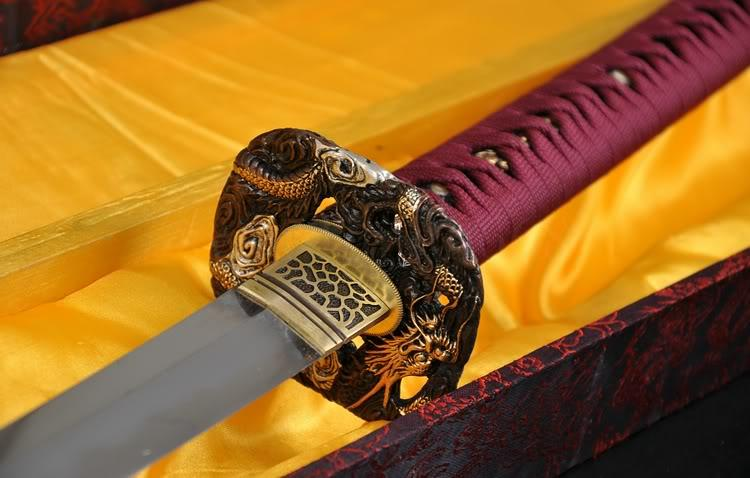 Japanese Classical Polishing Clay Tempered Folded Steel Samurai Sword Katana