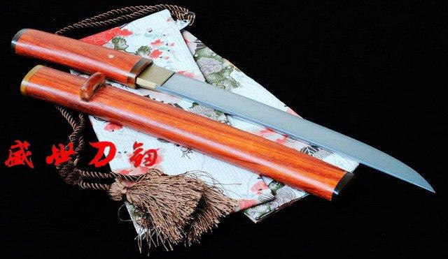 "20.5""Clay Tempered T-10 Steel Japanese Tanto Sword Red Wooden Sharpened Blade"