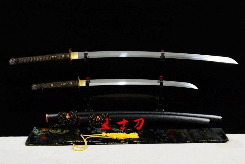 Excellent Clay Tempered T-10 Full Tang Blade Japanese Daisho Katana Sword Real Yokote Kissaki